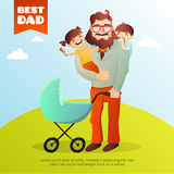 Father Day vector concept. Illustration with happy family. Hipster man and his children. Royalty Free Stock Photo
