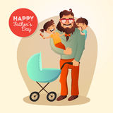 Father Day vector concept. Illustration with happy family. Hipster man and his children. Stock Photos