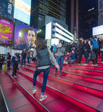 Father Duffy steps at Times Sqaure New York- MANHATTAN - NEW YORK - APRIL 1, 2017 stock photos