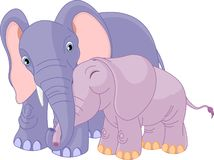 Father elephant and her calf Royalty Free Stock Photos