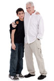 Father embraces his son. On isolated background stock image