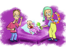 Father entertains baby. Daddy entertains young daughter. He wore pantyhose on his head and rattles rattles. Shaking rattles stock illustration