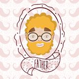 Father face cartoon over mustaches background. Vector illustration graphic design Royalty Free Stock Photography