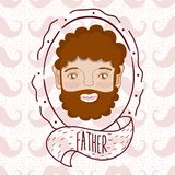 Father face cartoon over mustaches background. Vector illustration graphic design Stock Images