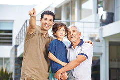 Father of family showing future goal Stock Photo