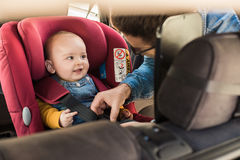 Father fasten his baby in car seat Stock Images