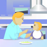 Father feeding child in kitchen. Vector illustration Royalty Free Stock Image
