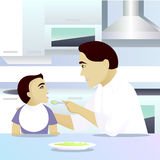 Father feeding child in kitchen. Vector illustration Stock Photography