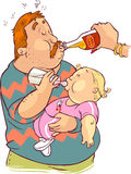 Father feeding the child. A vector illustration of father feeding the child Royalty Free Stock Images