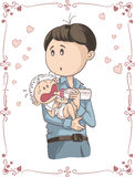 Father Feeding Crying Baby Vector Cartoon. Illustration of young man holding his child Stock Images