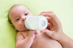 Father feeding his baby infant from bottle. Father feeding milk his baby infant from bottle Stock Photos