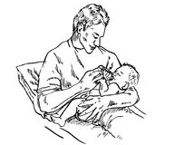Father feeding newborn baby with bottle. Hand drawn doodle, sketch in pop art style, vector illustration Stock Photo