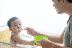 Father feeding toddler food. Stock Photography