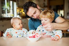 Father feeding two toddlers at home. Paternity leave royalty free stock photography