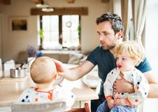Father feeding two toddlers at home. Paternity leave Royalty Free Stock Image
