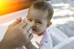 The father feeds his 8 month old daughter with a spoon. Baby with sly face is sitting in a chair at a table on the beach at sunny. Morning royalty free stock photo