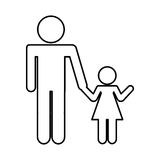 Father figure with daughter silhouette isolated icon. Vector illustration design Stock Photography