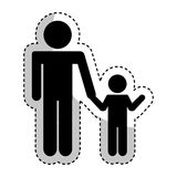 Father figure with son silhouette isolated icon. Vector illustration design Stock Image