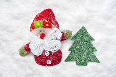 Father frost and christmas tree toys at snow Royalty Free Stock Photos