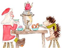 Father Frost drinks tea from samovar with hedgehog. Watercolor card of Father Frost and hedgehog which drink tea from samovar Royalty Free Stock Photo
