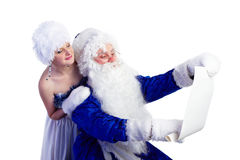 Father Frost and list of presents Stock Photo