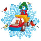 Father Frost and lorry. Santa Claus with a Christmas tree on a truck on the background of snowflakes. An illustration on a white background Stock Photos