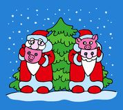 Father Frost and pig with masquerade masks near the Christmas tree stock illustration