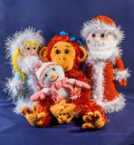 Father Frost, Snow Maiden and snowman next to a monkey, a symbol 2016. Hand-made, exclusive.  Stock Images