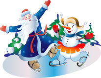 Father Frost and Snowball. Father Frost and the Snowball skating Royalty Free Stock Photography