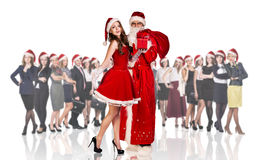 Father frost and woman in red xmas dress Royalty Free Stock Images
