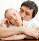 Father and gerl sad Stock Photos