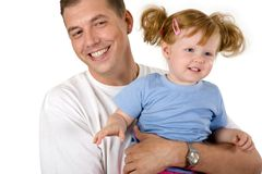 Father with girl. Photo of father holding   cute girl on a white background Stock Photo