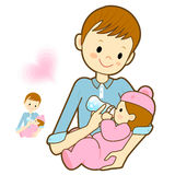 Father give a baby milk a bottle. Marriage and Parenting Charact Stock Image