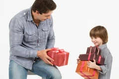 Father gives gifts Stock Image
