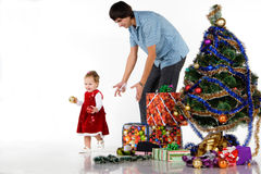 Father giving Christmas gift Stock Photos