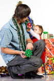 Father giving Christmas gift Stock Photography