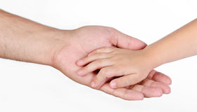 Father giving hand to child. Isolated Stock Photography