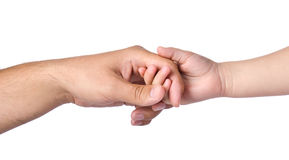 Father giving hand to a child. Isolated royalty free stock photography