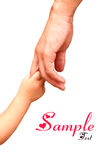 Father giving hand to a child; closeup. Father giving a hand to a child Royalty Free Stock Images