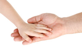 Father giving hand to a child isolated Stock Image