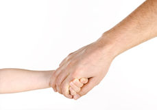 Father giving hand to a child. Isolated over white Stock Photography