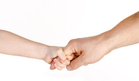 Father giving hand to a child isolated. Over white royalty free stock photo