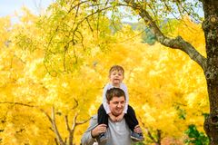 Father and son piggyback in autumn park. Father giving his son piggyback ride in autumn park, Adelaide Hills, South Australia stock photography