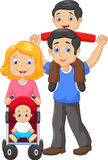 Father giving his son piggyback ride with mother pushing baby carriage. Illustration of Father giving his son piggyback ride with mother pushing baby carriage royalty free illustration