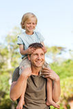 Father giving son a piggyback Royalty Free Stock Photography