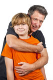 Father and happy son hugging Stock Photo