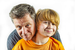 Father and happy son hugging Royalty Free Stock Photography