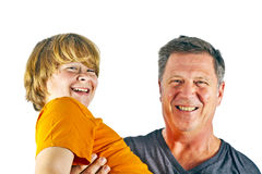 Father and happy son hugging Stock Images