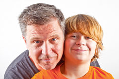 Father and happy son hugging Stock Image
