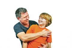 Father and happy son hugging Royalty Free Stock Photo